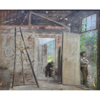 Interior Of An Animated Workshop Oil On Panel XIXth Century