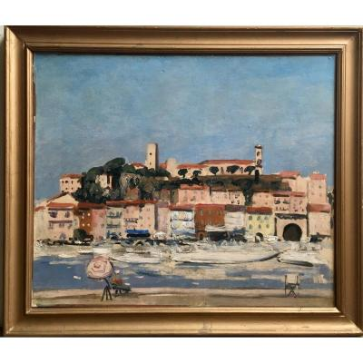 Cannes Le Suquet Oil On Canvas Around 1930