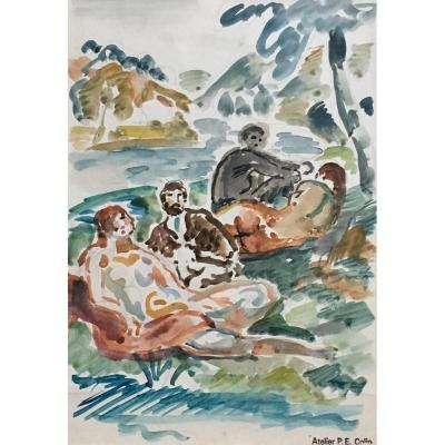 Lunch On The Grass By Paul Émile Colin Watercolor Naked Woman