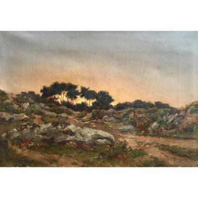 Félix Choisnard Landscape Of Brittany Oil On Canvas Of The XIXth Century Sunset