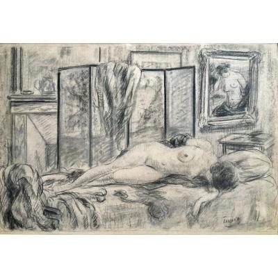 Naked Woman In An Interior By Yasushi Tanaka Around 1925 Drawing
