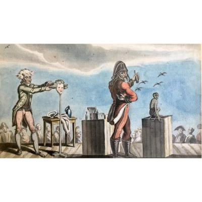 Charlatan Perruquier Watercolor On Paper End XVIIIth Beginning Of XIXth Century Hairdresser Monkey