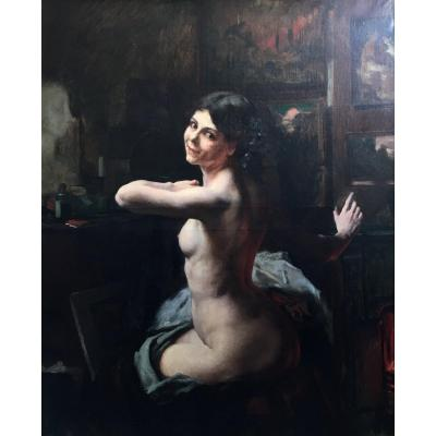 Ludovico Marchetti Naked Woman In The Workshop Large Oil On Canvas 1902 Italian Painter