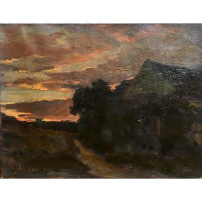 André Vautier Coucher De Soleil Huile Sur Toile Paysage Fin Du XIXème Siècle