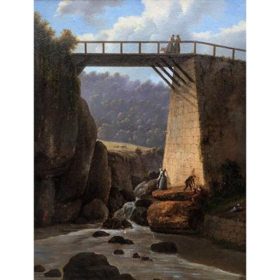 Animated View Of A Bridge In Italy Alexandre Raulin 1853 Oil On Cardboard