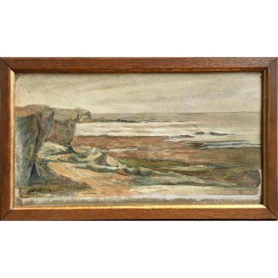Sketch By The Sea Oil On Cardboard Signed Around 1900 Normandy?