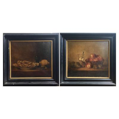 Pair Of Oils On Canvas Still Life Oysters Fruit Glass Ferdinand Expected XIX