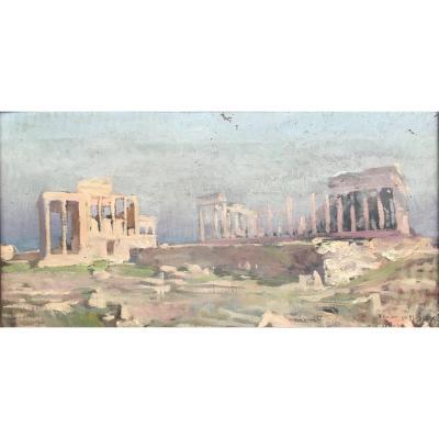 Acropole D'athènes Par José Garnelo Y Alda Huile Sur Toile XIXème Grèce