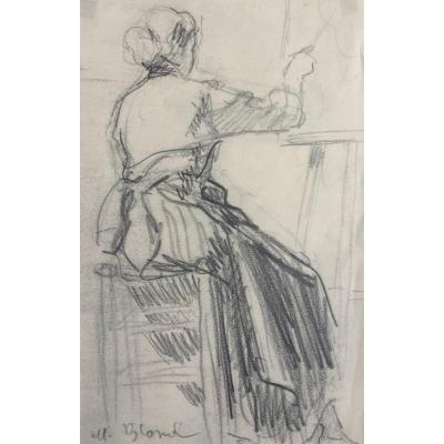 Woman With Her Easel By Maurice Blond Artist's Workshop Drawing