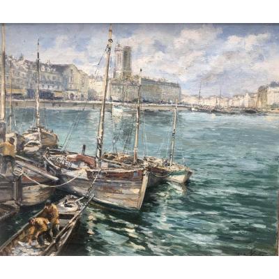 Le Port De La Rochelle Par Charles Blondin Huile Sur Toile