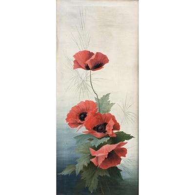 Les Coquelicots Oil On Canvas 1897 Monogrammed Mc Flowers