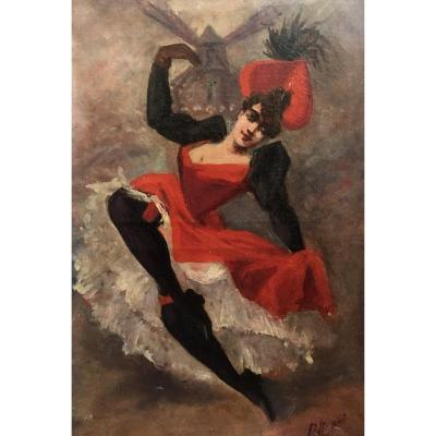French Cancan Moulin Rouge Dancer By Paolo Henri XIXth Montmartre Oil Canvas Paris