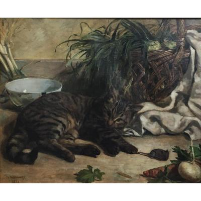 Charles Desavary The Cat And The Mouse Oil On Canvas 1874 Still Life