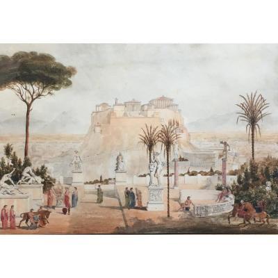 Prosper Morey L'acropole D'athènes Aquarelle Scène Antique 1840