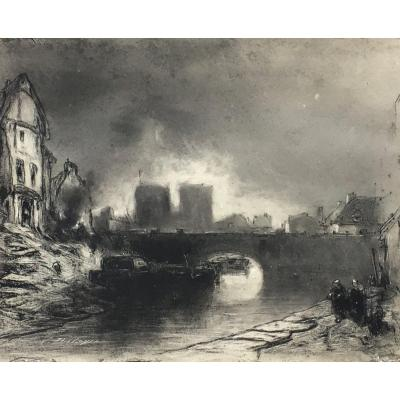 Eugène Deshayes Notre-dame Cathedral Of Paris The Seine Charcoal Drawing XIXth