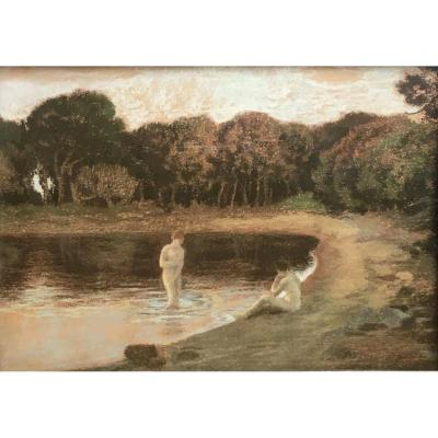 Émile René Ménard Baigneuses Au Crépuscule Pastel Sur Papier Vers 1895 Symbolisme