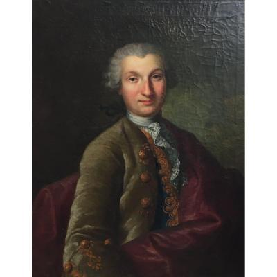 French School Around 1760 Portrait Of A Man Oil On Canvas XVIIIth Century