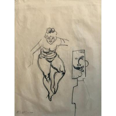Roger De La Fresnaye Woman And Man Cubism Drawing In Pencil Provenance Loeb And Krugier