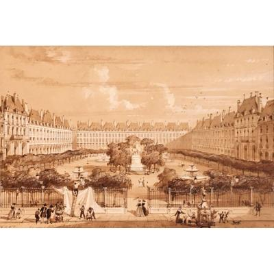 Adolphe Rouargue The Place Des Vosges Or The Place Royale In 1841 Paris Drawing