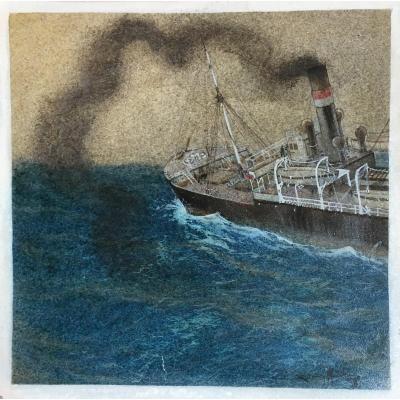 Sandy Hook Bateau En Pleine Mer Aquarelle Et Gouache Peintre Officiel De La Marine