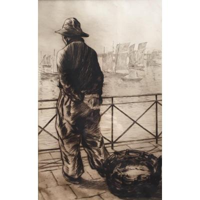 Charles Huard Fisherman In Front Of The Sea Original Etching Pointe Sèche Brittany