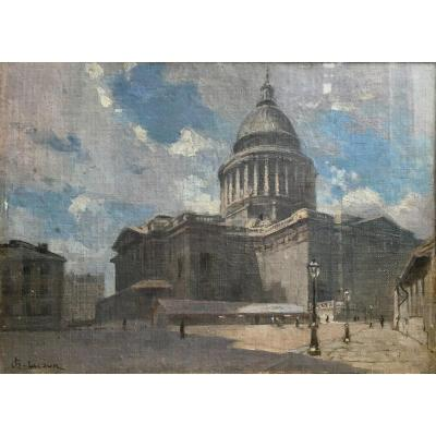 Charles Lacour The Panthéon In Paris Oil On Canvas Contrecolled End Of The XIXth Century