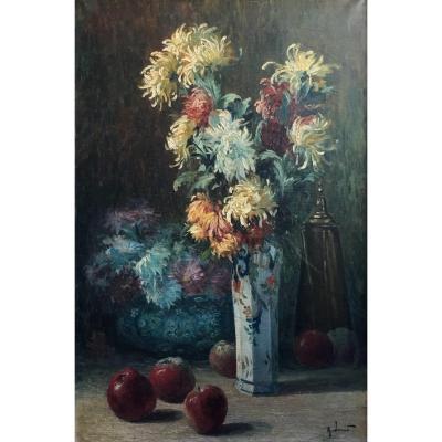 Alexandre Jacob Nature Morte Aux Pommes Et Aux Chrysanthèmes Huile Sur Toile Fin XIXème Siècle
