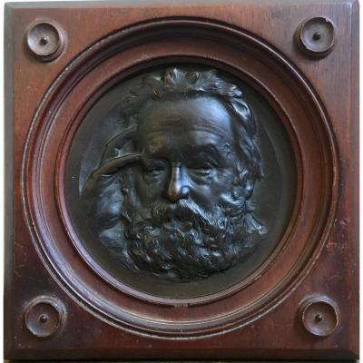 René Crozet Portrait Of Victor Hugo Framed Bronze Medallion