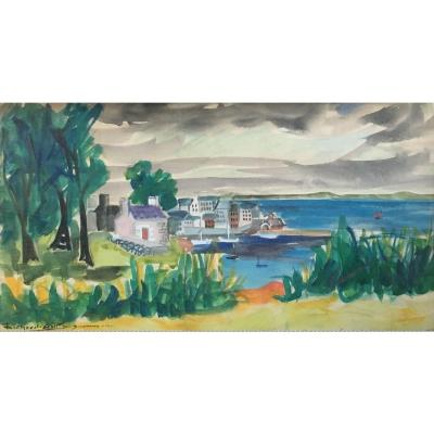Richard Gall Douarnenez 1943 Watercolor And Gouache On Paper