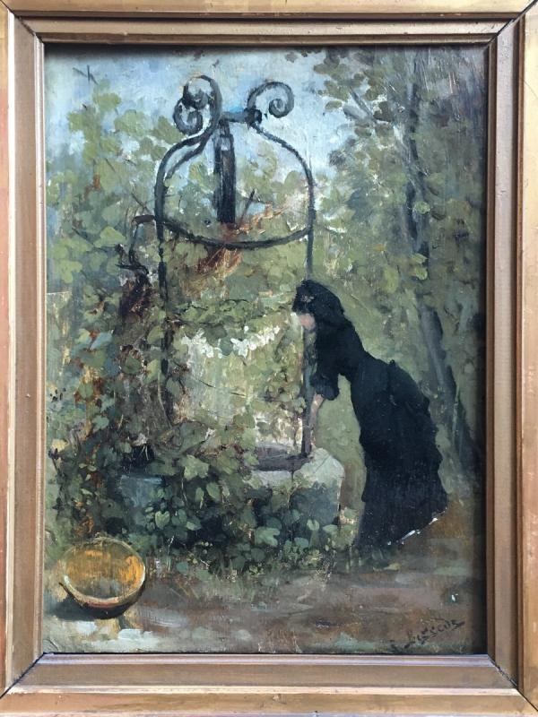 Raoul Henri Bessede Woman At The Well Oil On Panel Impressionist Nineteenth-photo-2