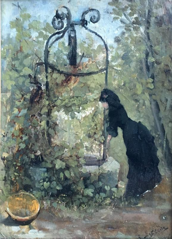 Raoul Henri Bessede Woman At The Well Oil On Panel Impressionist Nineteenth-photo-3