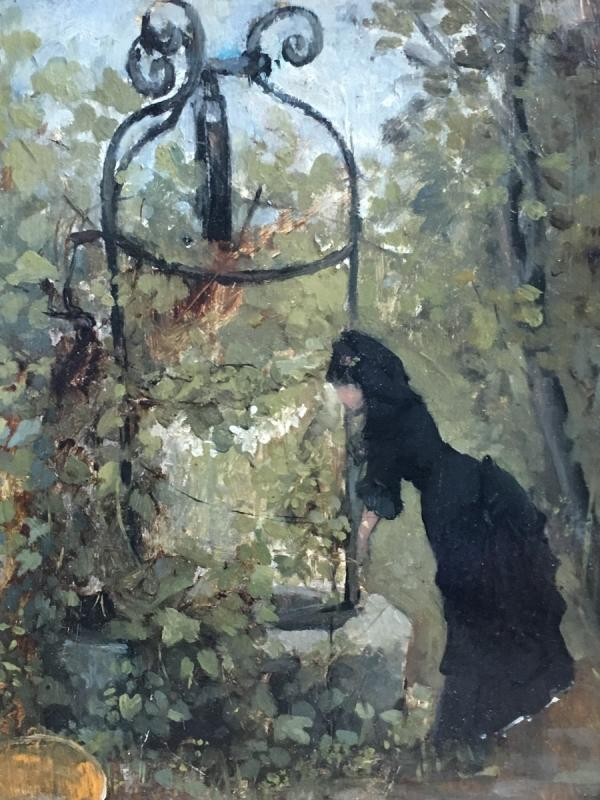 Raoul Henri Bessede Woman At The Well Oil On Panel Impressionist Nineteenth-photo-4