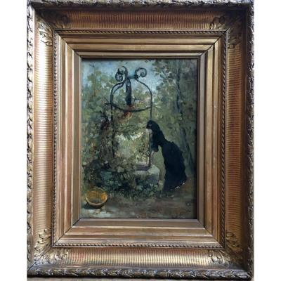 Raoul Henri Bessede Woman At The Well Oil On Panel Impressionist Nineteenth