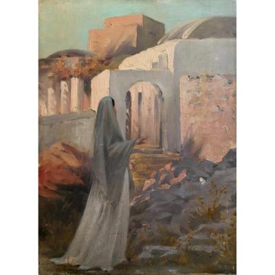 Guillaume Dubufe Woman In Anacapri In Italy Oil On Panel XIXth Century