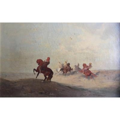 Paul Delamain Hunting For Falcons Orientalism Arab Falconers Oil On Canvas C. 1860 Morocco