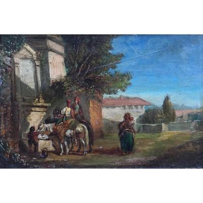 Paysage D'italie Attribué à Alexandre Gabriel Decamps Huile Sur Panneau Scène Animée Fontaine
