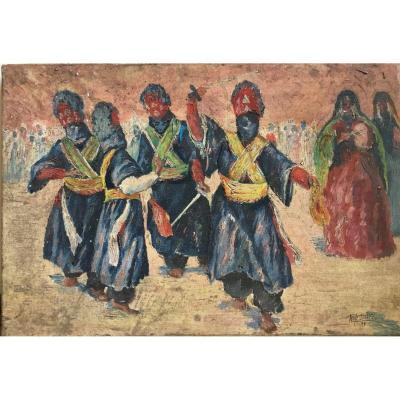 René Pottier La Sebiba Touareg Festival Oil On Canvas 1935 Orientalism