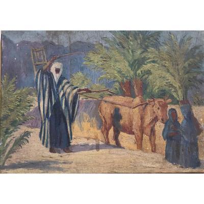 René Pottier Orientalism Oil On Canvas Plowman