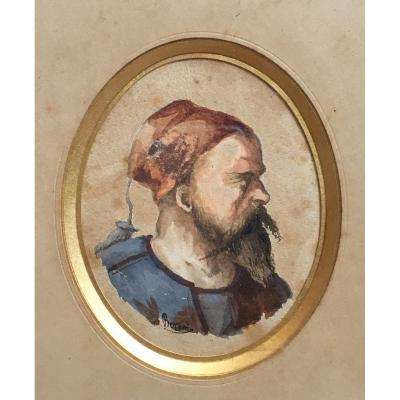 Portrait Of Zouave Watercolor On Paper Signed Military