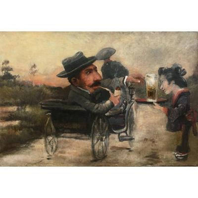 Attr To Charles Betout Japanese Serving A Beer To A European Oil On Canvas XIX Caricature