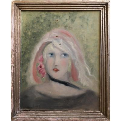 Marie Yvonne Picard Portrait Of Woman 1929 Oil On Canvas In The Taste Of Laurencin
