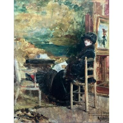 Ricardo Diaqué Woman Reading In An Interior Oil On Panel XIXth Century
