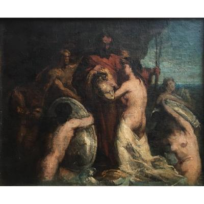 Thetis And Vulcan Oil On Canvas Early Nineteenth Century Sketch Mythology