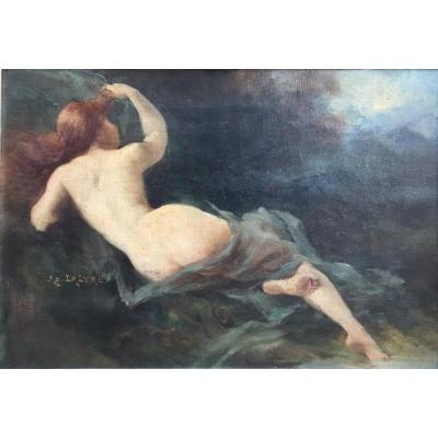 Adolphe Lalyre Naked Woman Lying Redhead End Of XIXth Century