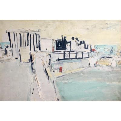 Jacques Truphémus Urban Landscape Oil On Canvas 1958 Lyon?