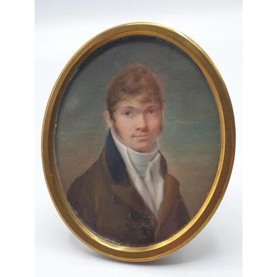 Beau Portrait D'un Jeune Homme Miniature Vers 1830