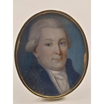 Portrait D'homme Fin Du XVIIIème Siècle Cerclage Or Miniature Sur Nacre