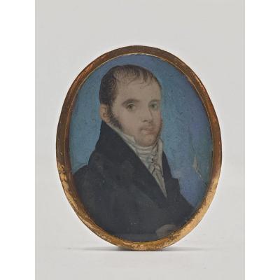Portrait Homme Vers 1800 Miniature
