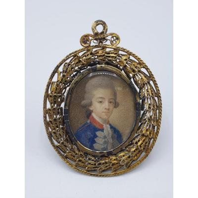 Portrait Of A Young 18th Century Miniature Military With Its Frame