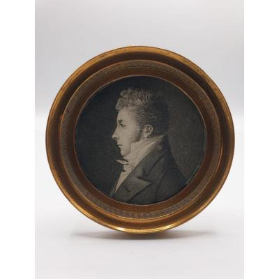 Portrait Of A Man Miniature Physionotrace Empire Period Frame